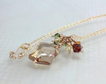 Crystal Pendant, 14kt Gold Filled, Swarovski Cosmic Freeform, Golden Shadow