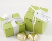 Hummingbird Wedding Favor Boxes - Vivid Green Favor Boxes