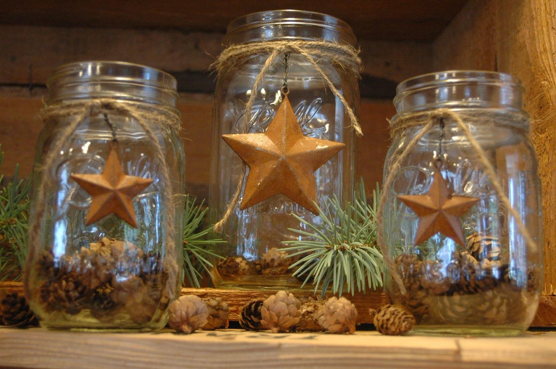 Rustic Mason Jar Set Barn Stars Primitive By