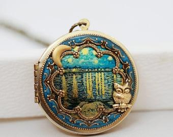 Locket, Moon and Star Locket,Photo Locket, Owl and Moon Locket,Wedding Necklace,The Starry Night - Vintage Locket,bridesmaid gift