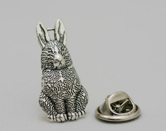 Rabbit Men's Tie Tack  Bunny Antique Silver Steampunk Groomsmen Men's Tie Tack Father's Day Accessories