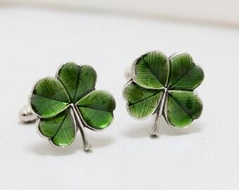 Four Leaf Clover Cufflinks Jewelry Gift ,Soldered Cufflinks Men's Cufflinks Irish Shamrock Steampunk Irish Wedding Men's Accessories Gift