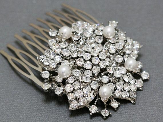 Bridal Hair Comb, Vintage Style Swarovski Pearl & Rhinestone Wedding Hair Comb, Bridal Head Piece, Vintage Wedding Hair Accessory,