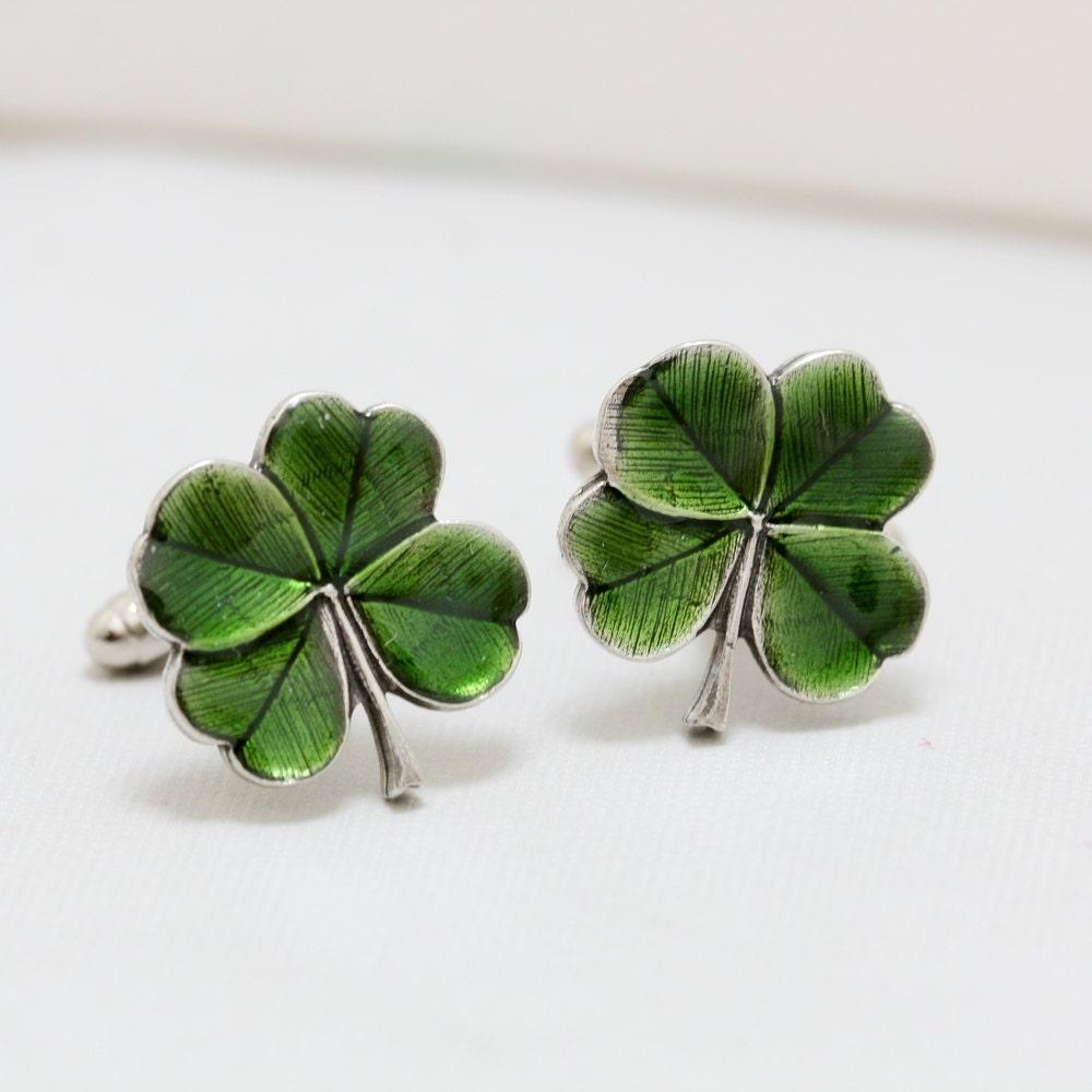 Wedding Gift Registry Ireland: Four Leaf Clover Cufflinks Jewelry Gift Soldered Cufflinks