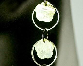 Shell earrings, yellow, gun metal, dangle
