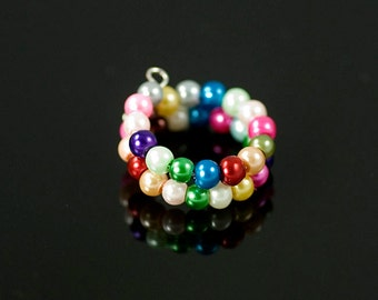 Memory wire ring, beaded