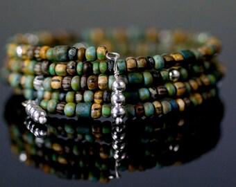 Memory Wire Bracelet with Czech Glass Beads