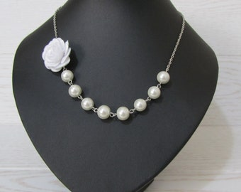 White pearl necklace with white fabric rose, white bridal jewelry, white rose necklace, bridesmaids jwelry, white rose necklace