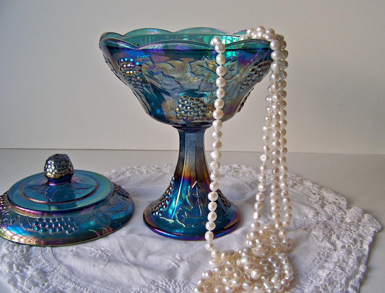 Vintage Blue Carnival Glass 78
