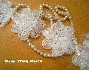 Chiffon Flower Lace Trim - 1.5 Yards White Chiffon 3D Flowers Lace Trim (C16)