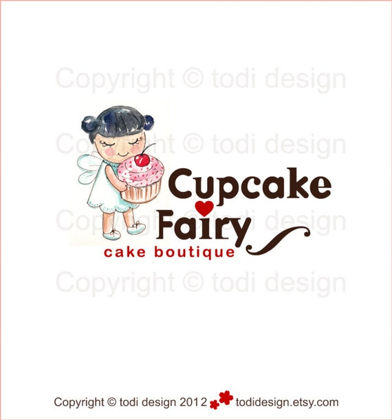 OOAK Character illustrated Premade Logo design -Cupcake Fairy- Will not be resold