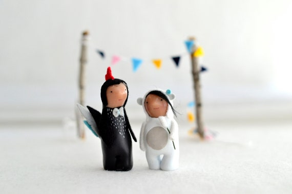 custom wedding cake topper - animal cake topper - character portrait