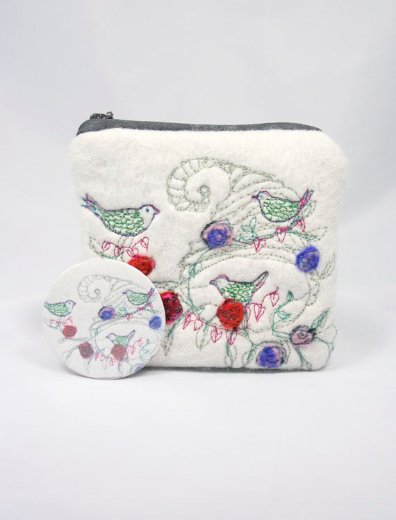 Embroidered Felted Coin Change Purse Birds and Roses & Mirror