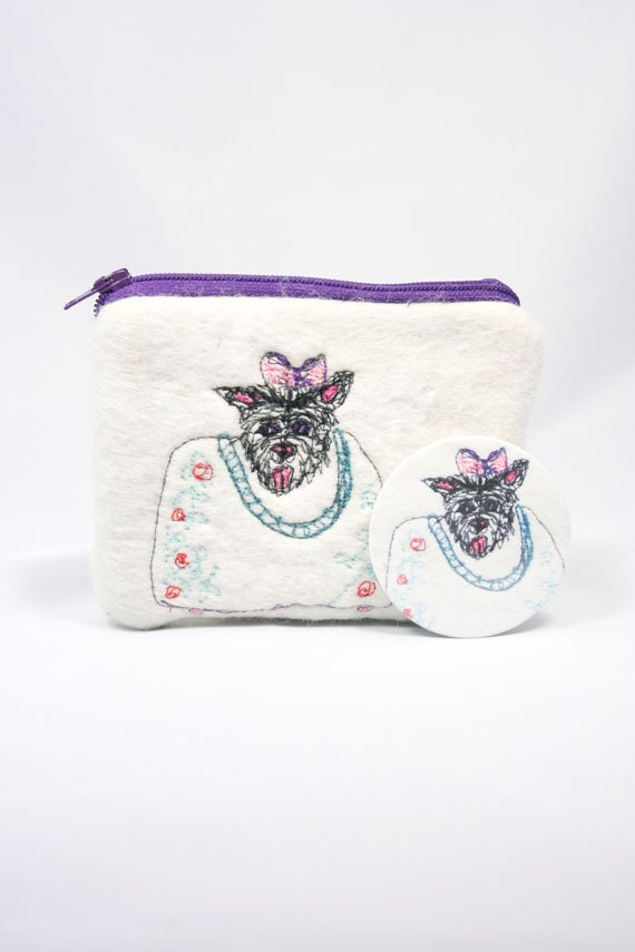 ON SALE Felted Purse Wallet Pouch with Machine Embroidered Dog