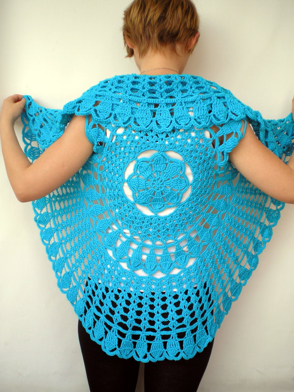 Free Crochet Ladies Circle Vest Or Shrug Pattern : Mandala Fashion Shrug Cotton turcoise Vest Woman Hand