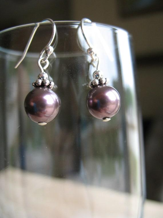 Sterling silver pearl earrings-dark mauve