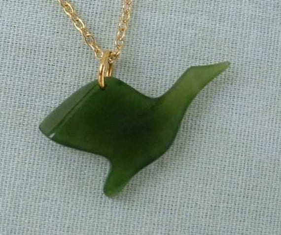 Storrs Genuine Jade Canadian Goose Duck Pendant Necklace in Original Box Vintage Jewelry