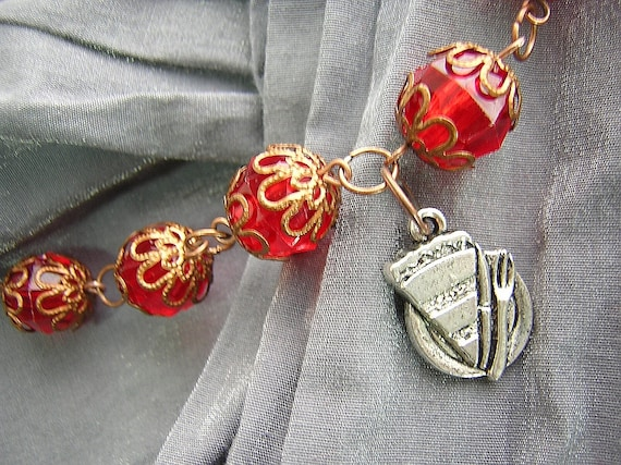 Red and Copper Cherry Pie Necklace with Silver Slice of Pie on Plate with Knife and Fork D225N-00376