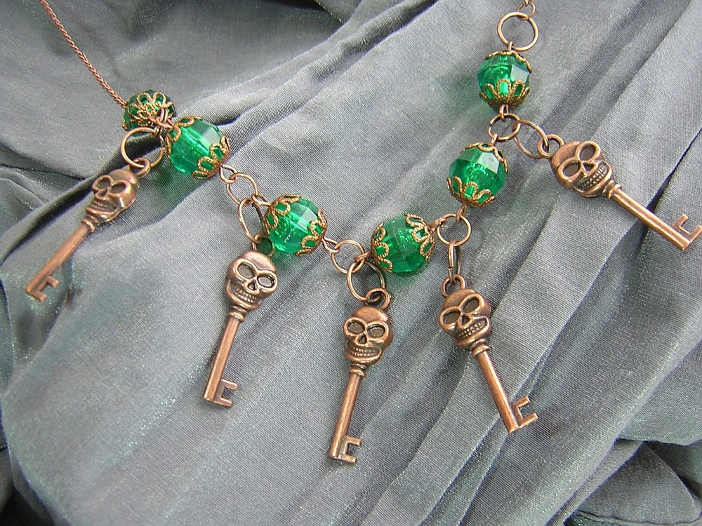 Green and Copper Skull Skeleton Keys Necklace Handmade by Rewondered
