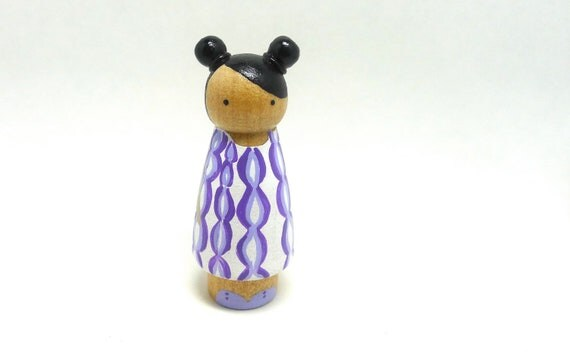 Wooden Peg Doll Girl with White and Purple Dress