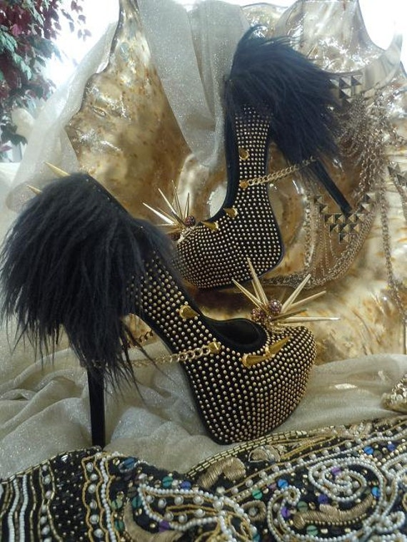 High Heel Platform Spiked Women Shoes Black /Gold with Fur size 10.... A SpikesByG Design