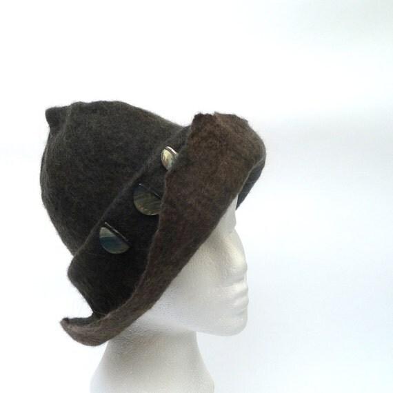Custom order - Wool Felt Hat Black as Night OOAK