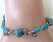 Blue gemstone bracelet - blue fire agates - pyrite