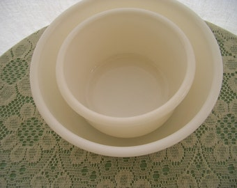 Vintage Milk Glass Mixing Bowls Set of 2 Bowls