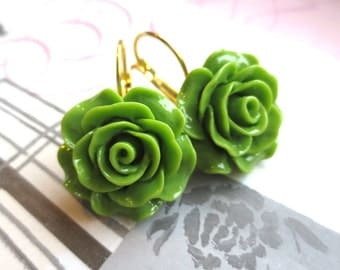 Grass Green Rose French Clip Earrings