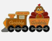 Turkey Gobble Train ...Embroidery Applique Design...Three sizes for multiple hoops...Item1359...INSTANT DOWNLOAD