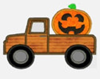 Pumpkin Face Truck ...Embroidery Applique Design...Three sizes for multiple hoops...Item1371...INSTANT DOWNLOAD