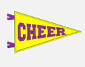 Cheer Pennant ...Embroidery Applique Design...Two sizes for multiple hoops...Item1106...INSTANT DOWNLOAD