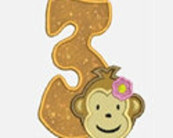 New Monkey Girl Numbers 1-9...Embroidery Applique Design...Three sizes for multiple hoops...item1195...INSTANT DOWNLOAD