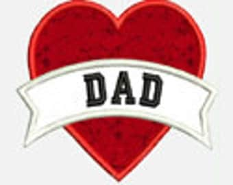 Dad Heart...Embroidery Applique Design...Two sizes for multiple hoops...item1096...INSTANT DOWNLOAD