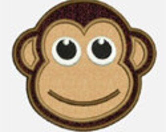 Monkey Face...Embroidery Applique Design...Three sizes for multiple hoops...Item1012...INSTANT DOWNLOAD