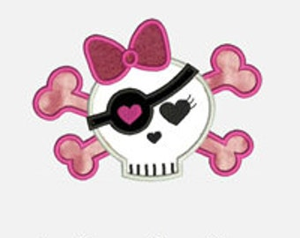 Girly Skull 1...Embroidery Applique Design...Three sizes for multiple hoops...Item1186...INSTANT DOWNLOAD