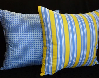 Decorative Pillows, Throw Pillow Covers - Ocean Blue and Sunshine Yellow - Two 18 Inch