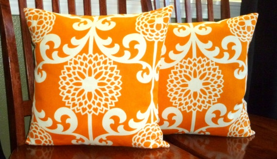 Distinctive Decorative Throw Pillow Covers - Two Orange and White 18 Inch