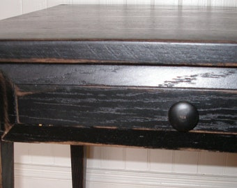 End table black distressed wood FREE SHIPPING