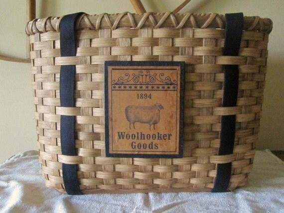 Rug Hooking Tote Basket Handwoven