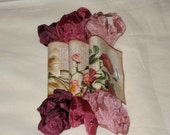Scrunched Seam Binding ribbon, Crinkled Seam Binding Packaged Vintage Rose ECS