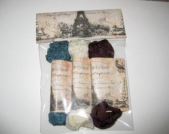 Scrunched Seam Binding ribbon, Crinkled Seam Binding Packaged Brownie Teal ECS