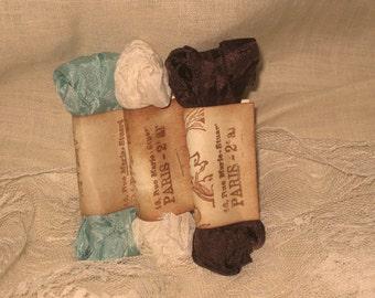 Hand Crinkled Seam Binding, Seam Binding, Vintage Ribbon, Vintage Trim, Scrunched Seam Binding ribbon, Crinkled Seam Binding Package ECS