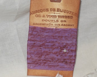 Seam Binding French Script Hand Stamped and Aged Seam Binding Mint Violette Au Paris