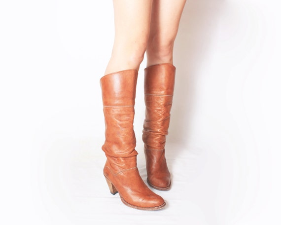 FRYE Leather Cowboy Western Boots in Tan Brown - Size 7 37.5 38
