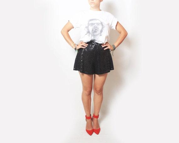 Vintage Sequin Shorts Dancewear in Black - small sm / medium med