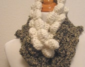 The Handmade Crochet Ebb and Flow Cowl in Stone and Pristine (Cream)