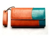 Bicolor leather purse, UNIQUE piece with a lovely charm inside for luck.
