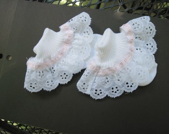 White and Pink Lace Ruffled Socks