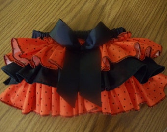 Adorable Ruffled Diaper Cover in Orange and Black